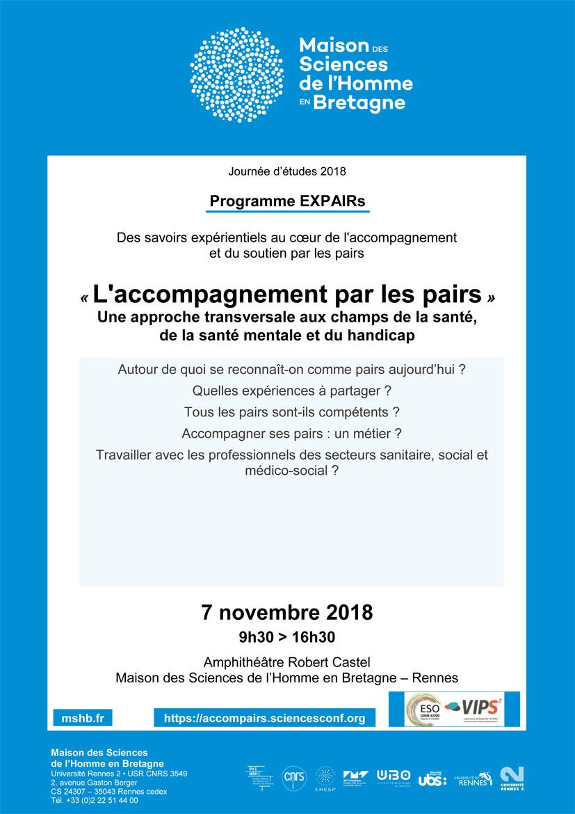 Affiche accompagnement par les pairs le 7 novembre à Rennes