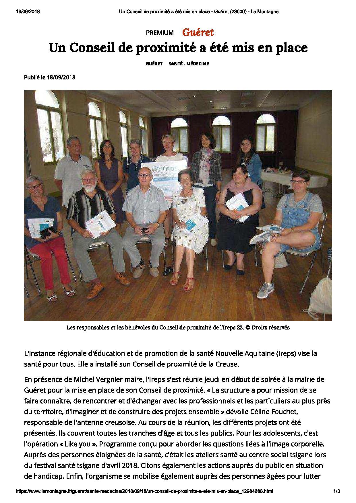 Un Conseil de proximité a été mis en place - Guéret (23000) - La Montagne