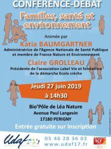 Conférence familles, santé et environnement à Perigny le 27 juin 2019
