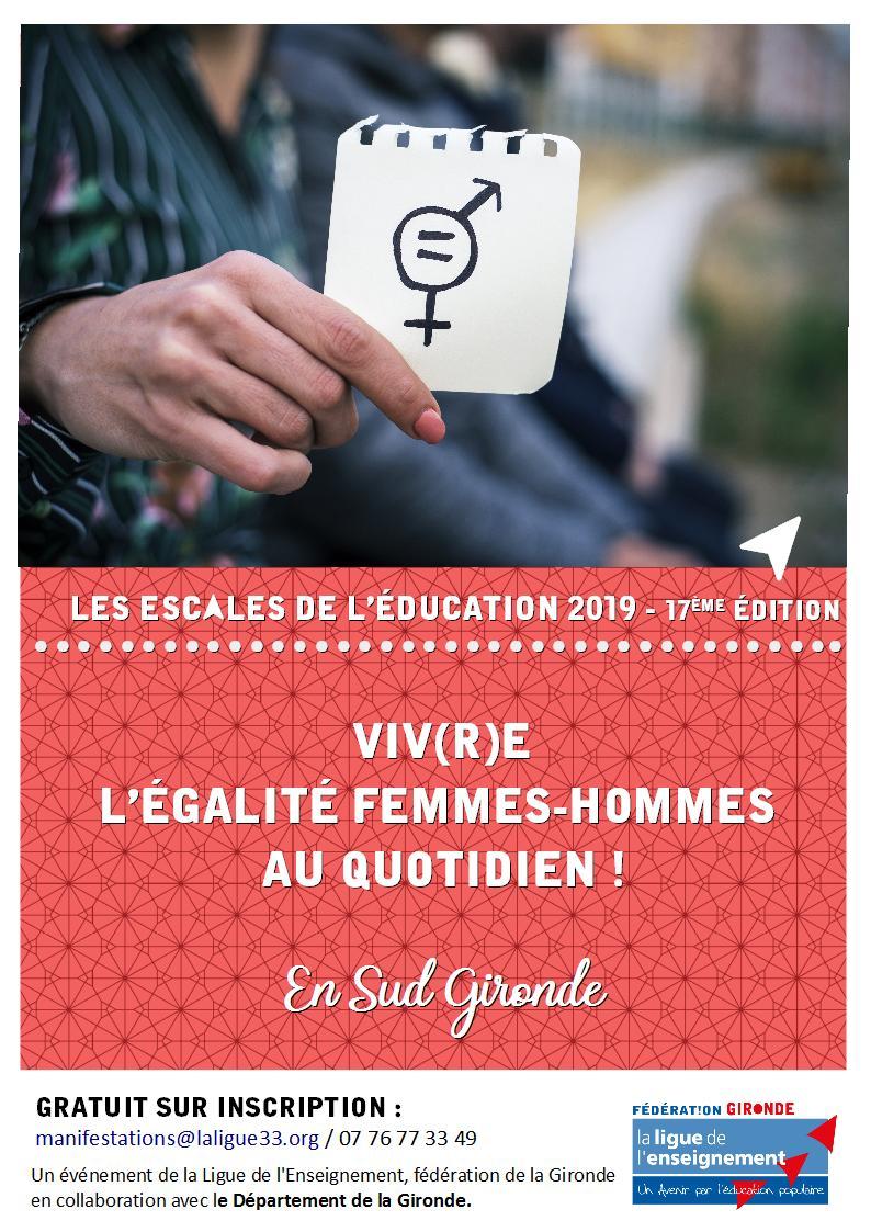 Vendredi 4 et 13 octobre - Sud Gironde- Vivre l'égalité femmes-hommes au quotidien