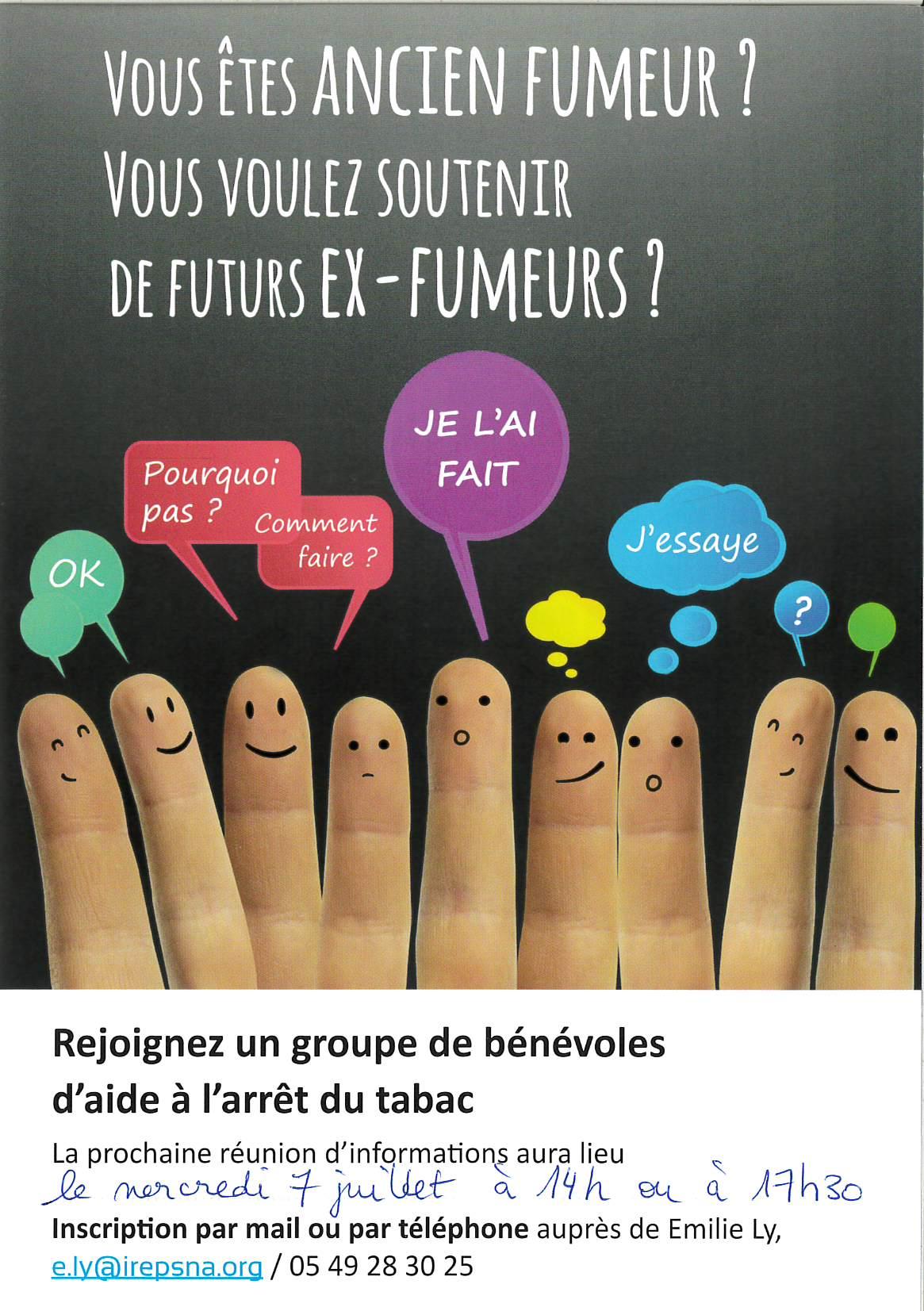 Recrutement de bénévoles « pairs tabac » à l'Ireps Nouvelle-Aquitaine pour l'antenne des Deux-Sèvres, secteur niortais et/ou mellois