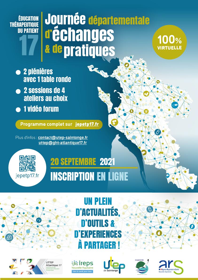 Lundi 20 septembre 2021 – Charente-Maritime - Journée Départementale d'Echanges et de Pratiques en Education Thérapeutique du Patient (ETP)